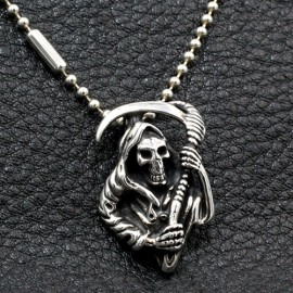 "Men's Sterling Silver Grim Reaper Skull Necklace with Sterling Silver Bead Chain 18""-30"""