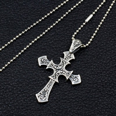 "Men's Sterling Silver Fleur Cross Necklace With Sterling Silver Bead Chain 18""-30"""