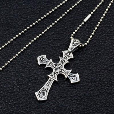 Men's Sterling Silver Fleur Cross Necklace