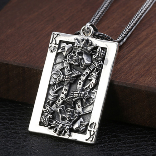 "Men's Sterling Silver Poker King Skull Necklace with Sterling Silver Wheat Chain 18""-30"""