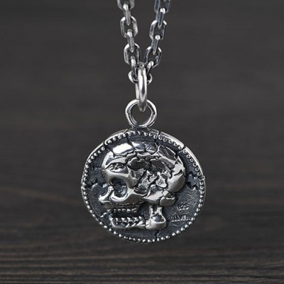 """Men's Sterling Silver Skull Tag Necklace with Sterling Silver Anchor Link Chain 18""""-30"""""""
