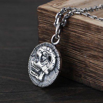 "Men's Sterling Silver Skull Tag Necklace with Sterling Silver Anchor Link Chain 18""-30"""