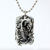 "Men's Sterling Silver Scorpion Tag Necklace with Sterling Silver Bead Chain 18""-30"""