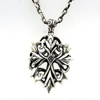 """Men's Sterling Silver Ivy Cross Necklace with Sterling Silver Anchor Link Chain 18""""-28"""""""