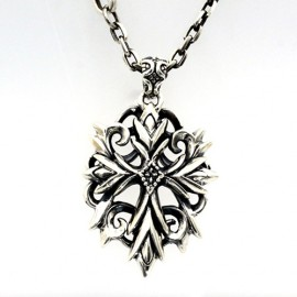 """Men's Sterling Silver Ivy Cross Necklace with Sterling Silver Anchor Link Chain 18""""-30"""""""