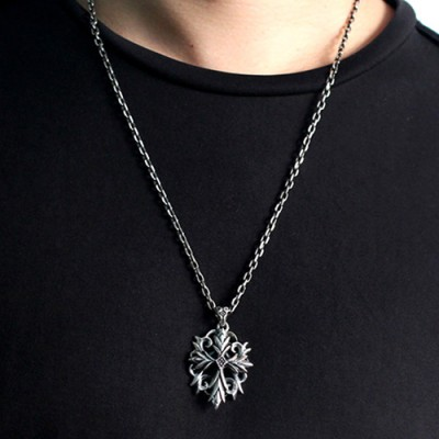 "Men's Sterling Silver Ivy Cross Necklace with Sterling Silver Anchor Link Chain 18""-30"""