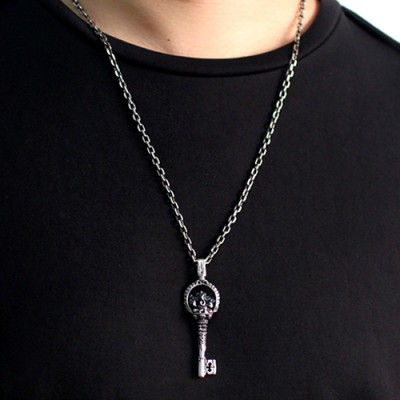 "Men's Sterling Silver Ganesha Key Necklace with Sterling Silver Anchor Link Chain 18""-28"""