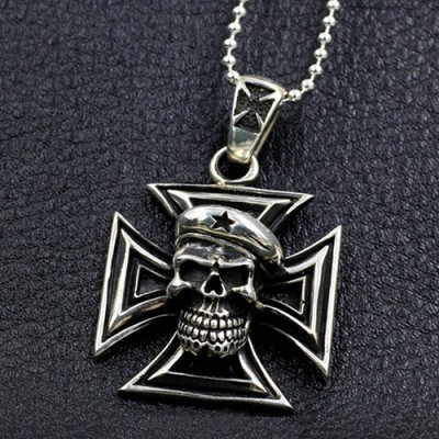 "Men's Sterling Silver Iron Cross Skull Necklace with Sterling Silver Bead Chain 18""-30"""
