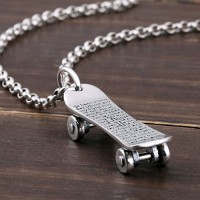"Men's Sterling Silver Skateboard Necklace with Sterling Silver Rolo Chain 18""-30"""