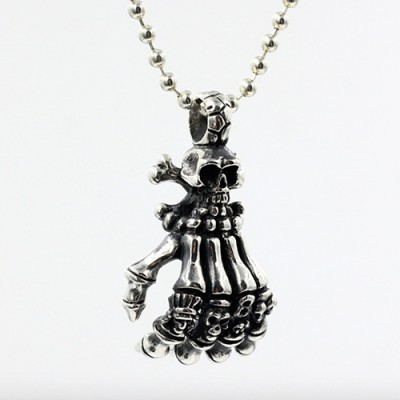 """Men's Sterling Silver Hand Skulls Necklace with Sterling Silver Bead Chain 18""""-30"""""""