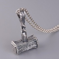 "Men's Fine Silver Hammer Pendant Necklace with Sterling Silver Rolo Chain 18""-30"""