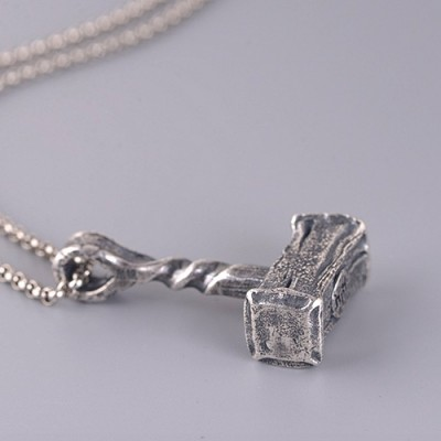 """Men's Fine Silver Hammer Pendant Necklace with Sterling Silver Rolo Chain 18""""-30"""""""