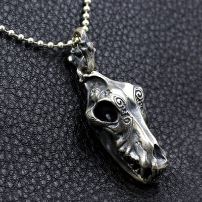 """Men's Sterling Silver Wolf Skull Necklace with Sterling Silver Bead Chain 18""""-30"""""""