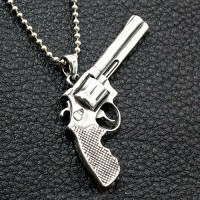 "Men's Sterling Silver Revolver Necklace with Sterling Silver Bead Chain 18""-30"""