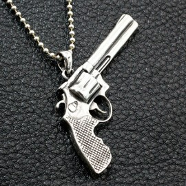 """Men's Sterling Silver Revolver Necklace with Sterling Silver Bead Chain 18""""-30"""""""
