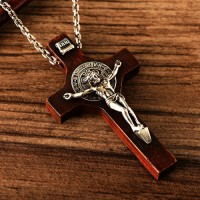 "Men's Sterling Silver Sandalwood INRI Cross Necklace with Sterling Silver Anchor Link Chain 18""-30"""