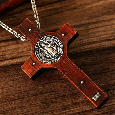 """Men's Sterling Silver Sandalwood INRI Cross Necklace with Sterling Silver Anchor Link Chain 18""""-30"""""""
