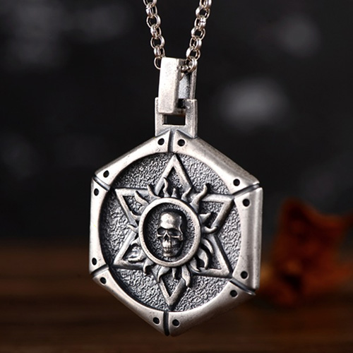 """Men's Fine Silver Star of David Skull Necklace with Sterling Silver Rolo Chain 18""""-30"""""""