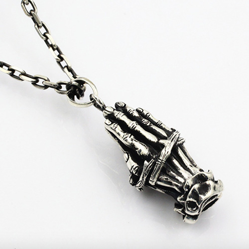 """Men's Sterling Silver Praying Hands Necklace with Sterling Silver Anchor Link Chain 18""""-30"""""""
