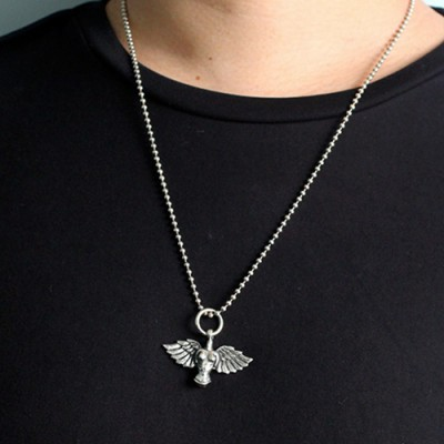"Men's Sterling Silver Angel Necklace with Sterling Silver Bead Chain 18""-30"""