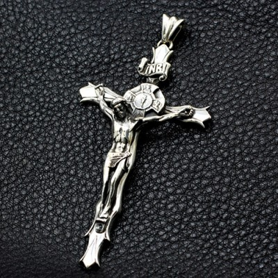 """Men's Sterling Silver Crucifix Necklace with Sterling Silver Bead Chain 18""""-30"""""""