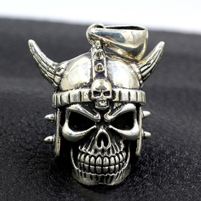 "Men's Sterling Silver Japanese Samurai Skull Necklace with Sterling Silver Bead Chain 18""-30"""