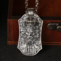 """Men's Sterling Silver Lion King Necklace with Sterling Silver Anchor Link Chain 18""""-30"""""""