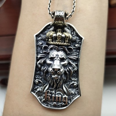 "Men's Sterling Silver Lion King Necklace With Sterling Silver Cable Chain 18""-24"""