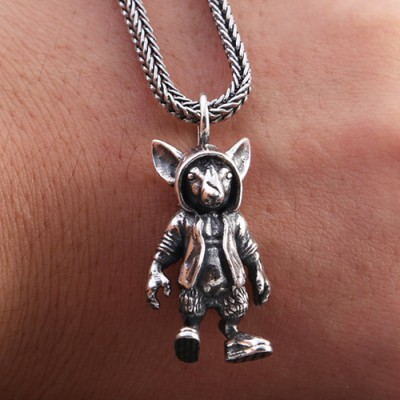 "Men's Sterling Silver Zodiac Mouse Necklace with Sterling Silver Wheat Chain 18""-30"""