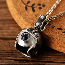 """Men's Sterling Silver Helmeted Eye Necklace with Sterling Silver Anchor Link Chain 18""""-30"""""""