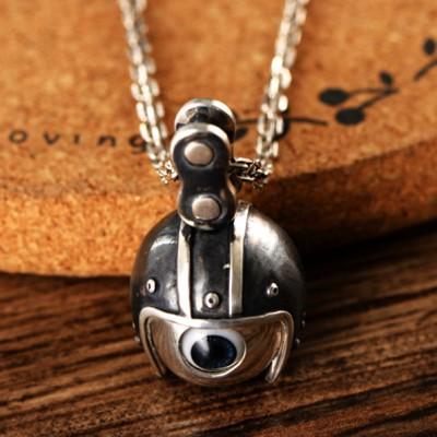 "Men's Sterling Silver Helmeted Eye Necklace with Sterling Silver Anchor Link Chain 18""-30"""