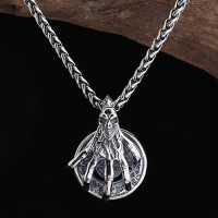 "Men's Sterling Silver Skull Hand Necklace with Sterling Silver Braided Chain 18""-30"""
