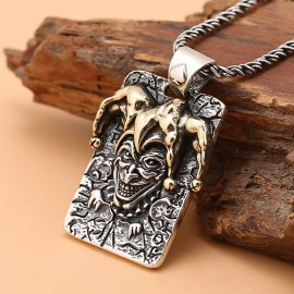 """Men's Sterling Silver Joker Necklace with Sterling Silver Rope Chain 18""""-24"""""""