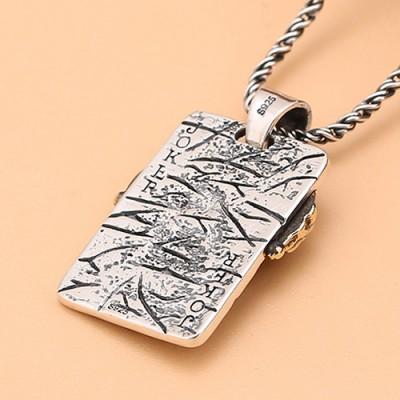 "Men's Sterling Silver Joker Necklace with Sterling Silver Rope Chain 18""-24"""