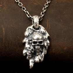 "Men's Sterling Silver Purgatory Skulls Necklace with Sterling Silver Anchor Link Chain 18""-30"""