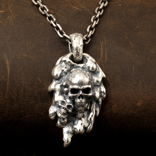 """Men's Sterling Silver Purgatory Skulls Necklace with Sterling Silver Anchor Link Chain 18""""-30"""""""