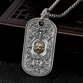 """Men's Sterling Silver Lion Tag Necklace with Sterling Silver Popcorn Chain 18""""-30"""""""