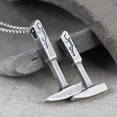 """Men's Fine Silver Hammer Necklace with Sterling Silver Rolo Chain 18""""-30"""""""