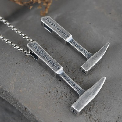 "Men's Fine Silver Hammer Necklace with Sterling Silver Rolo Chain 18""-30"""