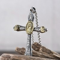 "Men's Sterling Silver Virgin Mary Cross Necklace with Sterling Silver Rolo Chain 18""-30"""