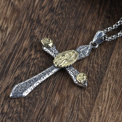 """Men's Sterling Silver Virgin Mary Cross Necklace with Sterling Silver Rolo Chain 18""""-30"""""""