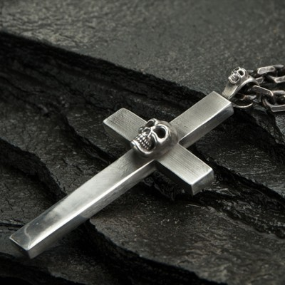 """Men's Fine Silver Skull Cross Necklace with Sterling Silver Anchor Link Chain 18""""-30"""""""