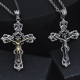 """Men's Sterling Silver Crucifix Necklace with Sterling Silver Anchor Link Chain 18""""-30"""""""