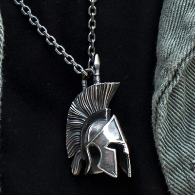 """Men's Fine Silver Spartan Mask Necklace with Sterling Silver Anchor Link Chain 18""""-30"""""""