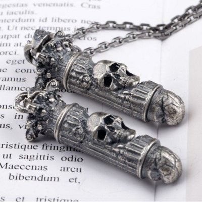 """Men's Sterling Silver Skull Bullet Necklace with Sterling Silver Anchor Link Chain 18""""-30"""""""