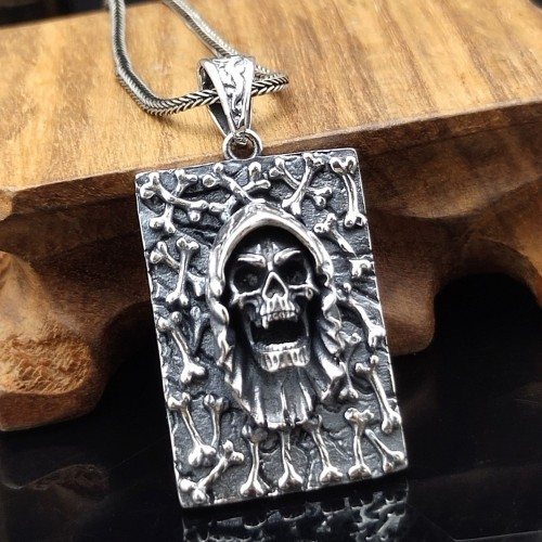 """Men's Sterling Silver Skull and Bones Tag Necklace with Sterling Silver Wheat Chain 18""""-30"""""""