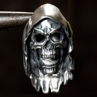 """Men's Fine Silver Grim Reaper Skull Necklace with Sterling Silver Anchor Link Chain 18""""-30"""""""