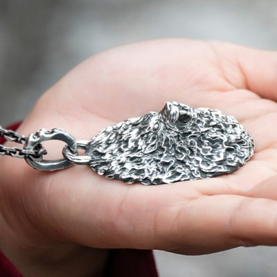 """Men's Fine Silver Furious Lion Necklace with Sterling Silver Anchor Link Chain 18""""-30"""""""