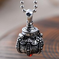 "Sterling Silver Stupa Pendant Necklace with Sterling Silver Bead Chain 18""-30"""