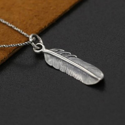 "Sterling Silver Tiny Feather Pendant Necklace with Sterling Silver Rope Chain 16""-20"""